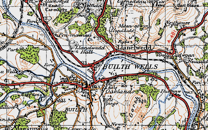 Old map of Llanelwedd in 1947