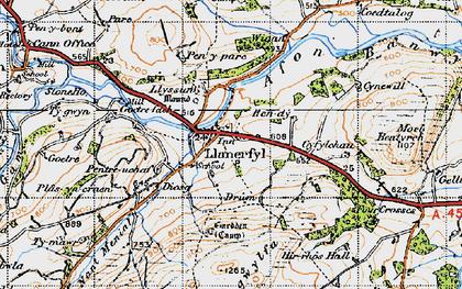 Old map of Llanerfyl in 1947