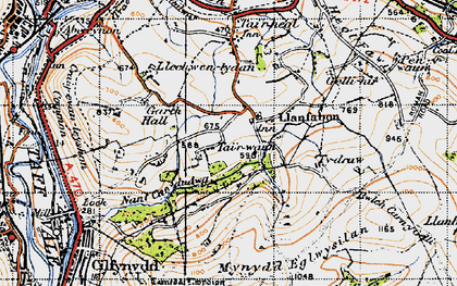 Old map of Llanfabon in 1947