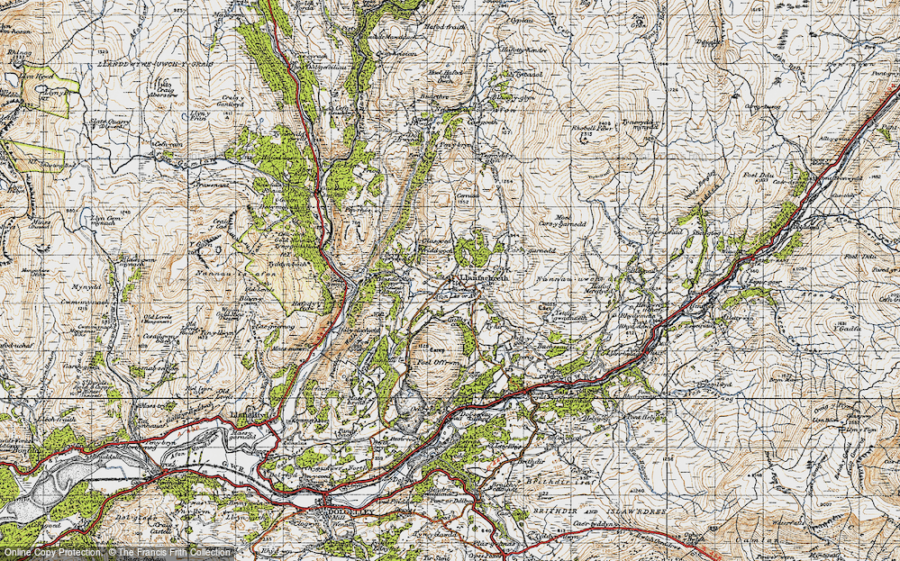 Old Map of Historic Map covering Afon Babi in 1947