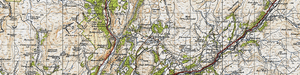 Old map of Afon Lâs or Afon Babi in 1947