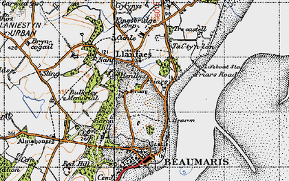 Old map of Llanfaes in 1947