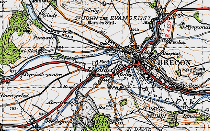 Old map of Abergwdi in 1947