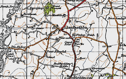 Old map of Llanfaethlu in 1947