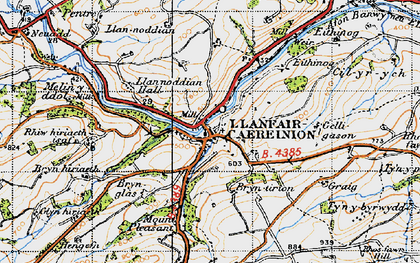 Old map of Llanfair Caereinion in 1947