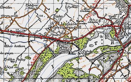 Old map of Llanfair Pwllgwyngyll in 1947