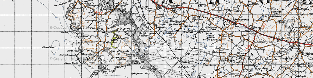 Old map of Ynys-las in 1947