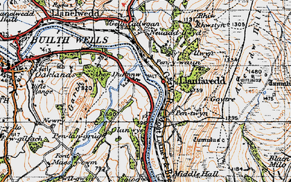 Old map of Aberedw Hill in 1947