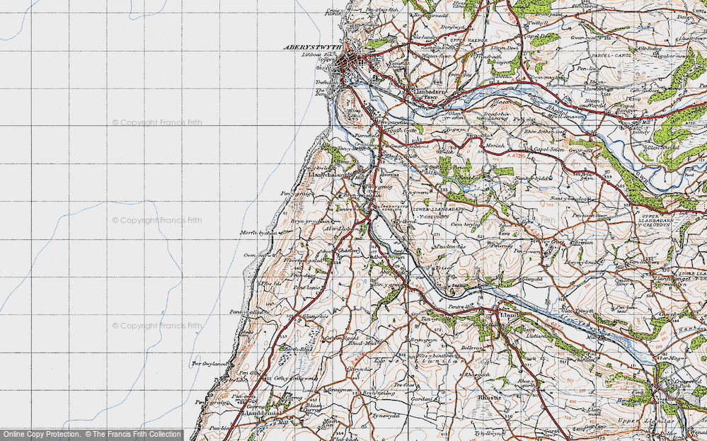 Old Map of Historic Map covering Aberllolwyn in 1947