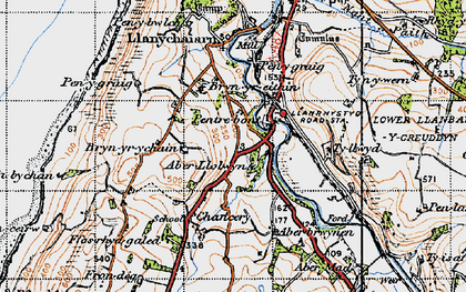 Old map of Aberllolwyn in 1947