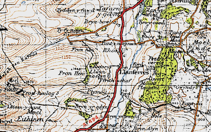Old map of Llanferres in 1947