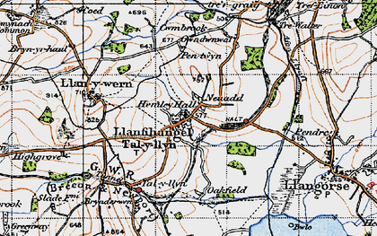 Old map of Afon Llynfi in 1947