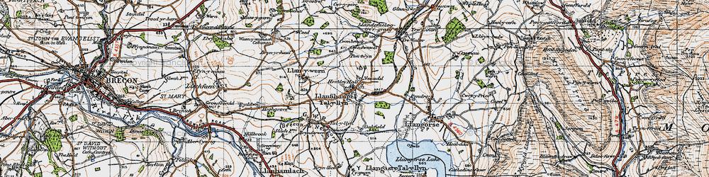 Old map of Afon Llynfi in 1947