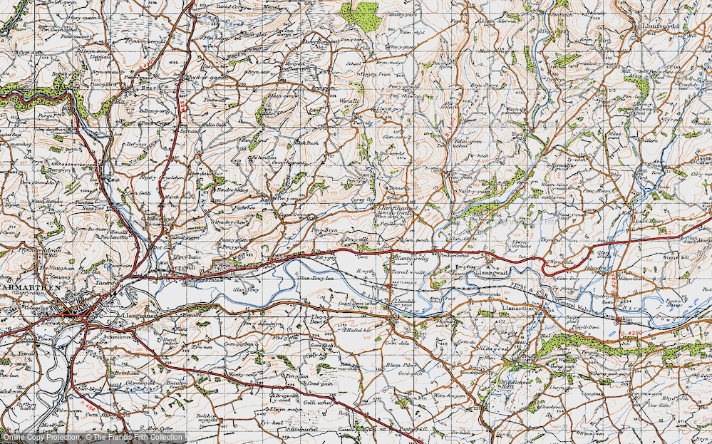 Old Map of Historic Map covering Afon Annell in 1946