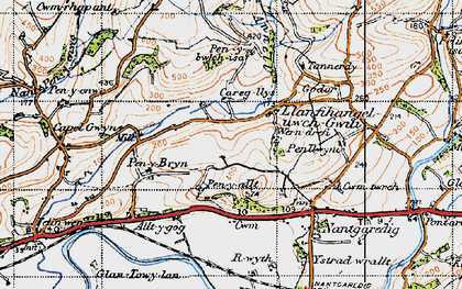 Old map of Afon Annell in 1946