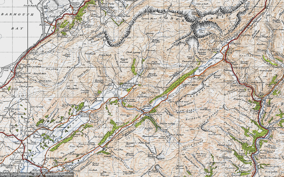 Old Map of Historic Map covering Afon Cadair in 1947