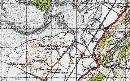 Old map of Afon y Glyn in 1947