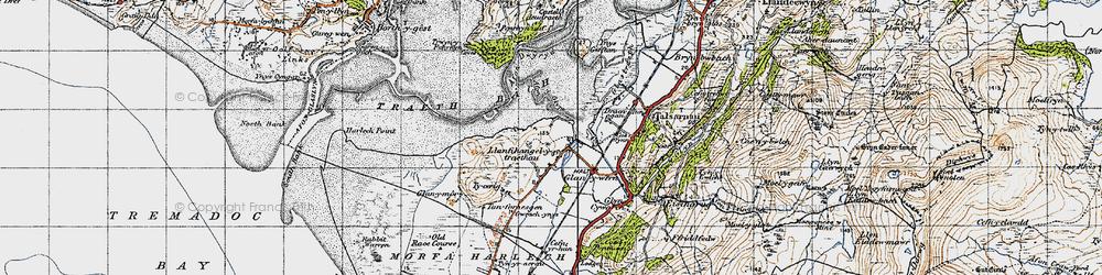 Old map of Afon y Glyn in 1947