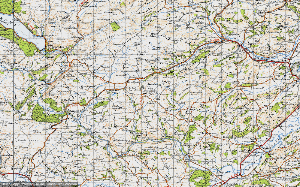 Old Map of Historic Map covering Adwywynt in 1947
