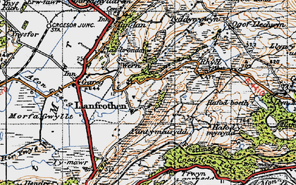 Old map of Llanfrothen in 1947