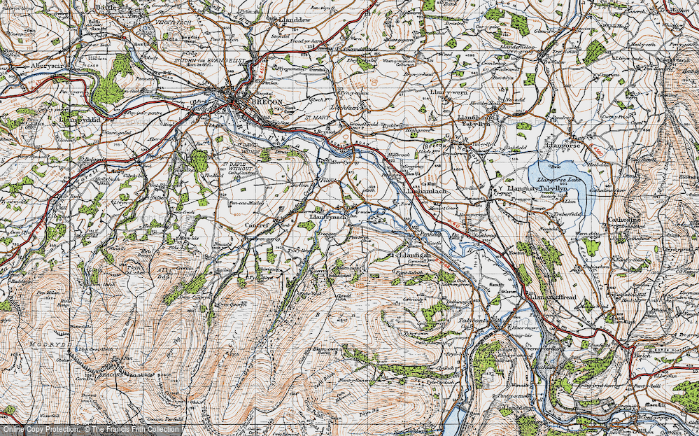 Old Map of Historic Map covering Afon Cynrig in 1947
