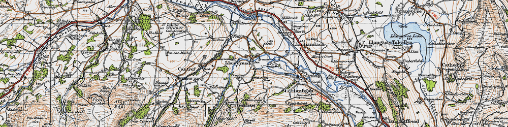 Old map of Abercynrig Mill in 1947
