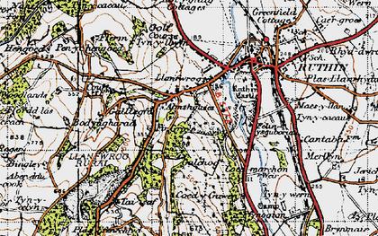 Old map of Llanfwrog in 1947
