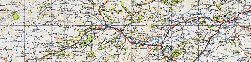 Old map of Llanfyllin in 1947