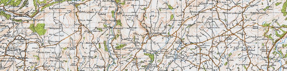 Old map of Afon Sannan in 1947