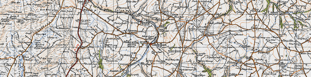 Old map of Afon Asen in 1946