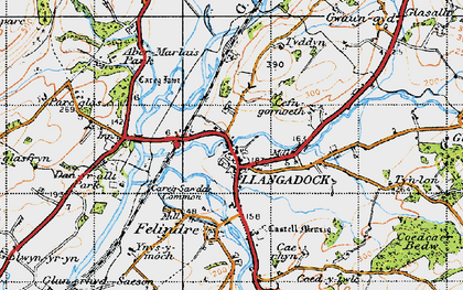 Old map of Llangadog in 1947