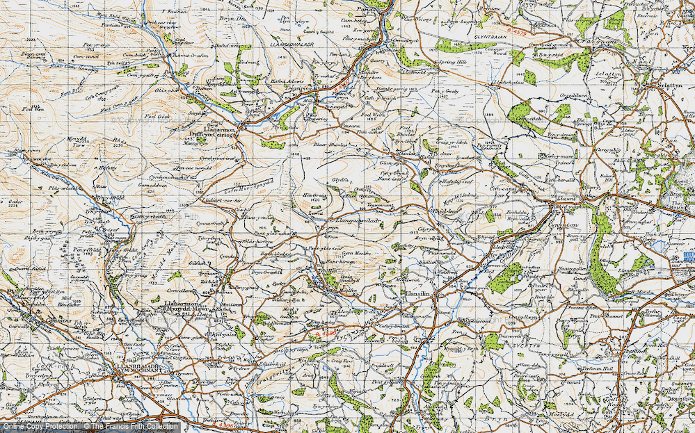 Old Map of Historic Map covering Lawnt, The in 1947