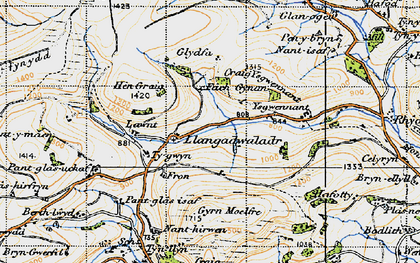Old map of Ysgwennant in 1947