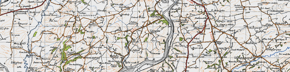 Old map of Ystradwalter in 1946