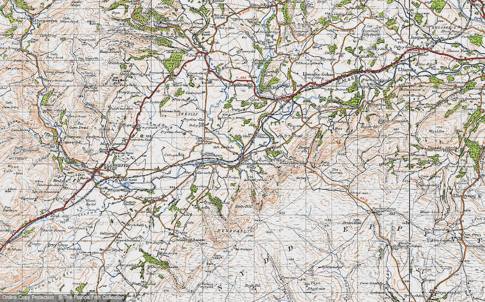 Old Map of Llangammarch Wells, 1947 in 1947
