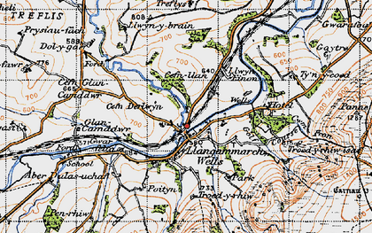 Old map of Llangammarch Wells in 1947