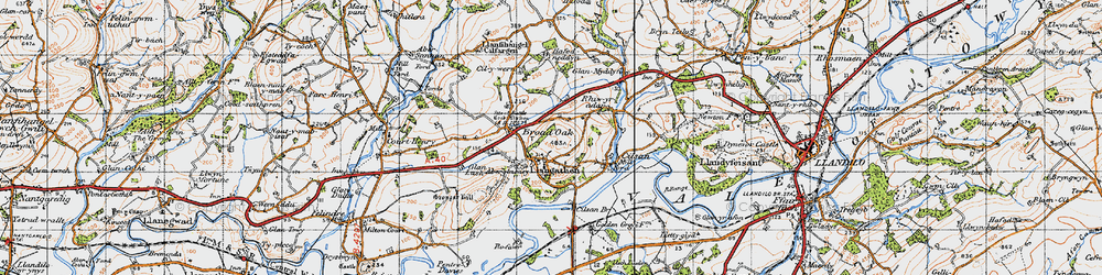 Old map of Aberglasney in 1947