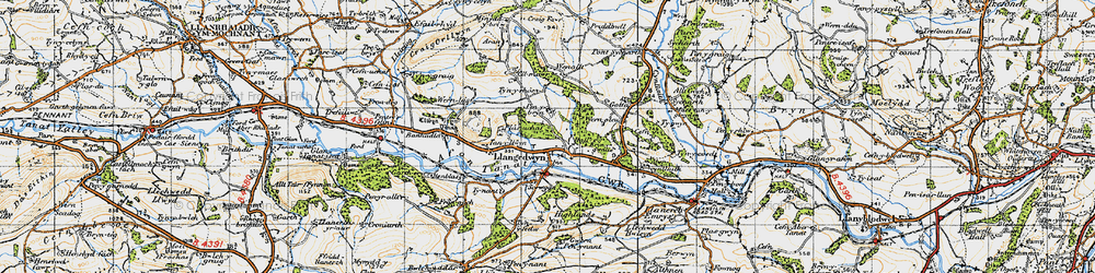 Old map of Llangedwyn in 1947