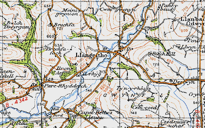 Old map of Aeron Dale in 1947