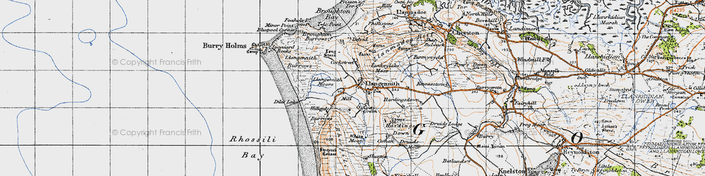 Old map of Llangennith in 1946