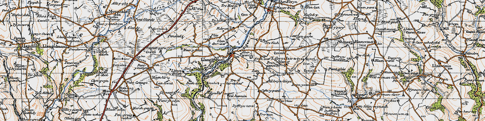 Old map of Afon Tigen in 1946