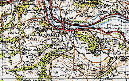 Old map of Llangollen in 1947