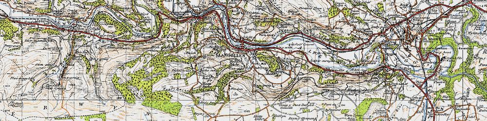 Old map of Llangollen in 1947