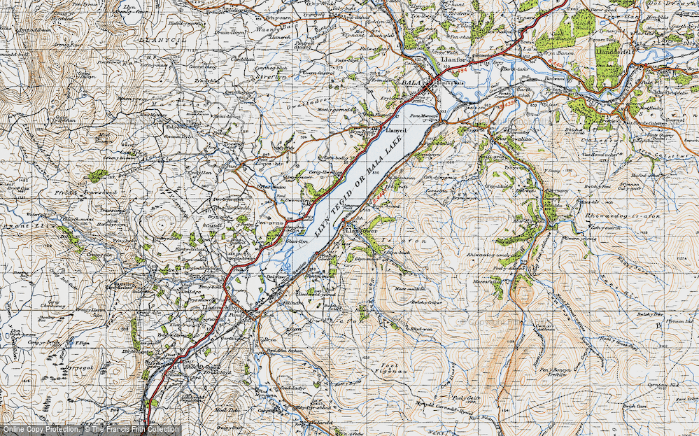 Old Map of Historic Map covering Afon Glyn in 1947