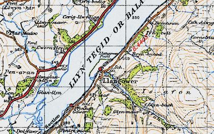 Old map of Afon Glyn in 1947