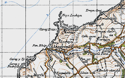 Old map of Ynys-Lochtyn in 1947