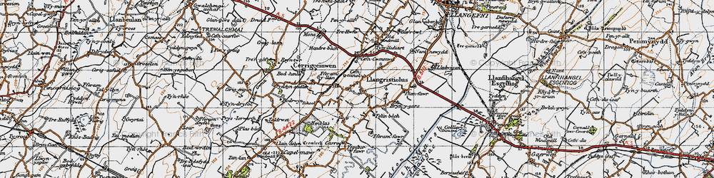 Old map of Afon Cefni in 1947