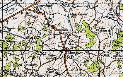 Old map of Llangwm in 1946