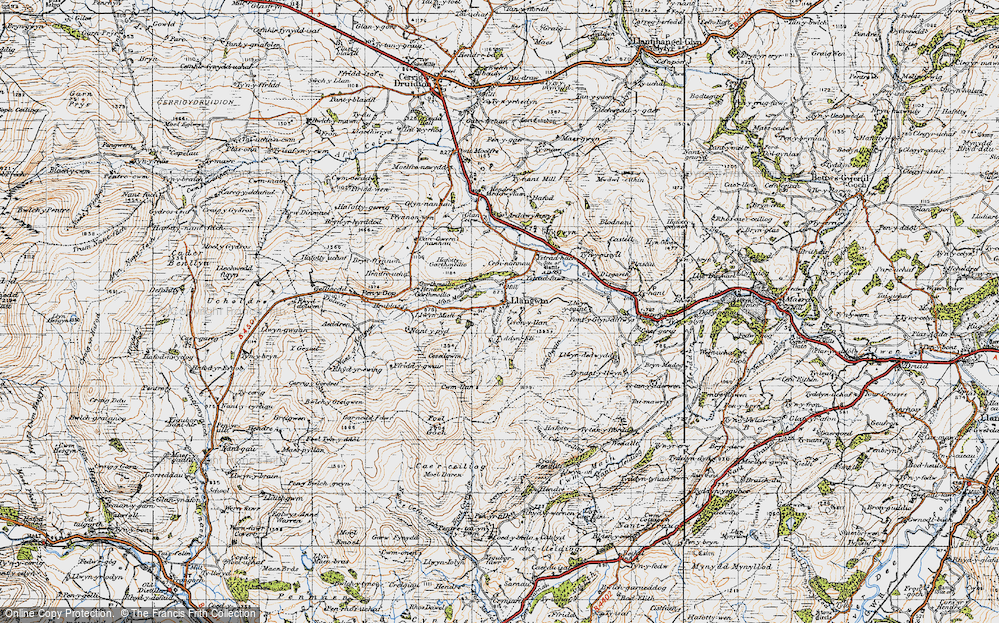 Old Map of Historic Map covering Afon Medrad in 1947