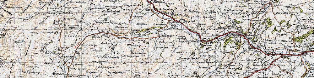 Old map of Aeddren in 1947